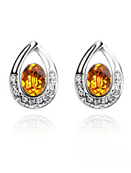 The Spring Stud Earring Plated with 18K True Platinum Topaz Crystallized Austrian Crystal Stones