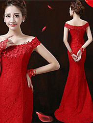 Formal Evening Dress - Ruby Trumpet/Mermaid Off-the-shoulder Sweep/Brush Train Lace