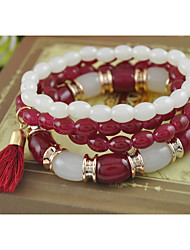 Women's Bracelet of New Arrival Synthetic Garnet Stone and Tibetan Silver Multilayer