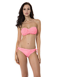 RELLECIGA 2015 Pink Bandeau Top Bikini with Shining Stones on the Decorative Leaves & Push-up Molded Cups