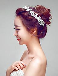 Elegant Lace/Rhinestones Wedding/Party Headpieces with Imitation Pearls