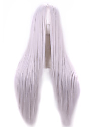 Cosplay Hot Models High-quality Synthetic Wig 80cm High Temperature Wire Straight Hair   Silver Long Straight Hair