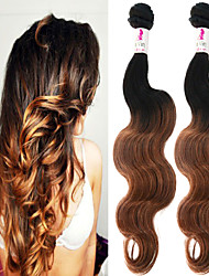 """3 Pcs/Lot 12""""-26"""" 100% Indian Unprocessed Virgin Human Hair #1B-30 Color Ombre Body Wave Hair Weaves"""