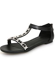 Women's Shoes Leather Flat Heel Slingback/Comfort Sandals Office & Career/Dress Black/White