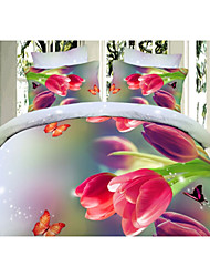 Flower 3D Print Bedding 4 Piece Duvet Cover Sets