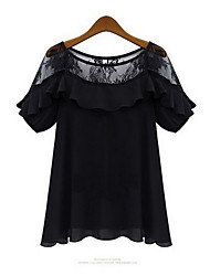 Women's Casual/Lace Round Short Sleeve Tops & Blouses (Chiffon/Lace)