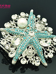 Neoglory Jewelry Imitation Pearl and Rhinestone Starfish Hair Combs for Lady/Wedding/Party(More Color)