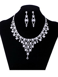 Upscale Bride Jewelry set Necklace with Earrings in Rhinestone