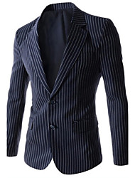 Men's Casual Slim Striped Two Button Blazer