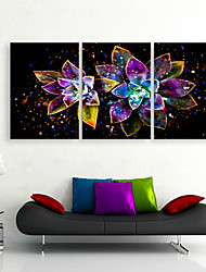 e-HOME estiró arte impresión de lienzo llevado flores brillantes LED parpadeante de juego de copias de fibra óptica de 3