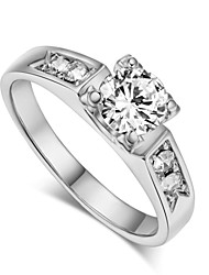 T&C Women's Classic 18k White Gold Plated Cubic Zirconia Clear Simulated Diamond Wedding Ring