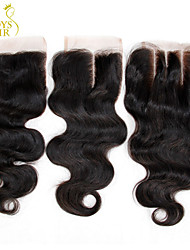 "8-20"" Malaysian Body Wave Wavy Lace Closure Size 4""x4"" Natural Black Free Middle 3 Part Virgin Remy Human Hair Closures"