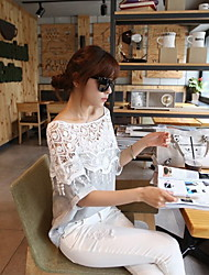 Women's Casual/Lace Round Short Sleeve T-Shirts (Cotton/Lace)
