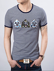 Men's Fashion Stripe Print Slim Short Sleeved T-Shirts