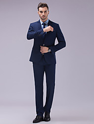 Suits Slim Fit Slim Notch Two-Button Polyester Solid 2 Pieces Dark Blue