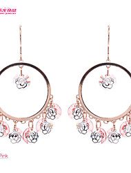 Lady's Jewelry Chandelier Earringz with Steel Rose Design and High Sparkly Crystal (More Color)