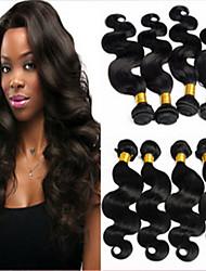 3pcs / lot onduladas extensiones de pelo sin procesar virginal brasileño de la trama del pelo humano 8 a 34 pulgadas