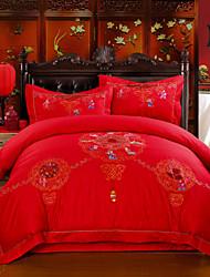 ropa de cama de algodón jacquard de seda casado cuatro piezas