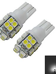 1.5W T10 Lampe de Décoration 20 SMD 3528 85lm lm Blanc Froid DC 12 V 2 pièces