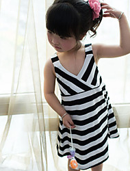 Girl's V-neck Stripe Harness Dress