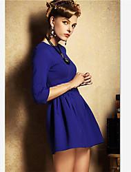 vestido de manga 3/4 vaina de color sólido de las mujeres yisala