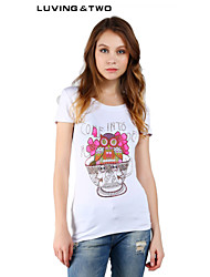 Women's Casual/Print/Cute/Party Micro-elastic Short Sleeve Regular T-shirt (Cotton) Luvingtwo Hot Sale