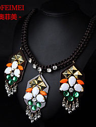 Korean version of the new retro exaggerated explosion models orange braided rope necklace jewelry first