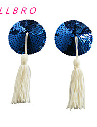 Women's Bra Ladies Sexy Sequin Blue Round with Tassel Stick On Pasties Breast Nipple Covers free shipping