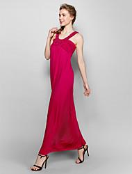 Ankle-length Silk Bridesmaid Dress - Fuchsia / Royal Blue Ball Gown Sweetheart