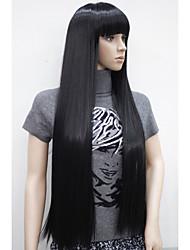 """nouvelle charmante 30 """"longue ligne droite avec une frange résistants à la chaleur synthétique noire perruque femmes femmes"""