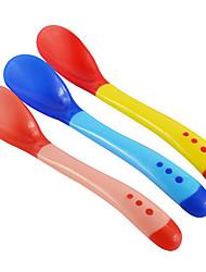 Safety Temperature Sensing Spoon Baby Flatware Feeding Spoon Random Color