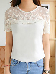 Diors Women's Korean Chiffon Lace Fresh Strapless Short Sleeve Shirt