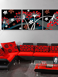 E-HOME® Stretched Canvas Art Flower Decorative Painting  Set of 3
