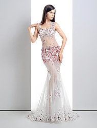 Formal Evening Dress - See Through Trumpet / Mermaid V-neck Court Train Lace / Tulle with Crystal Detailing / Lace