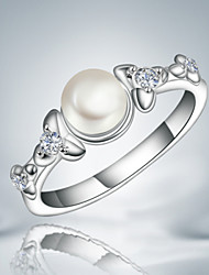 2016 New Pearl Fashion Luxury Zircon Sterling Silver Party Band Ring For Women