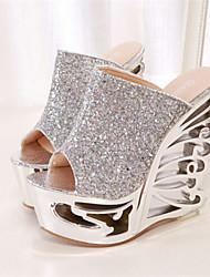 Zapatos de mujer - Tacón Cuña - Punta Abierta - Sandalias - Vestido - Semicuero - Plata