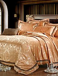 jacquard de algodão de seda de luxo king size rainha 4pcs jogo de cama fronha duvet têxteis coverhome quilt cobrir folha plana