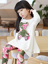 Big Elephant 2pc Baby Girl Sets Bear Outfits Dress T-shirt+Pants Kids Clothes For 2-7Y R94 White