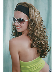 New Fashion 3/4 Wig With Headband Blonde & Brown Mix Curly Long Women's Half Wigs