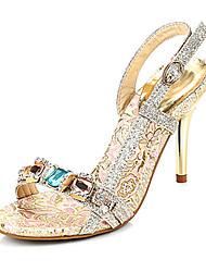 Women's Shoes Fabric Stiletto Heel Peep Toe Sandals with Rhinestone Dress