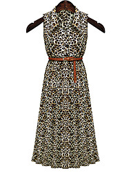 Women's Turtle Neck with Leopard print Maxi Micro-elastic Sleeveless Maxi Dress (Cotton)