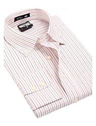 U&Shark Men's Fine Oxford Long Sleeve Shirt with Orange Strips/CNJ005