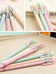 Dots Pattern Candy Color Black Ink Gel Pen(Random Color)