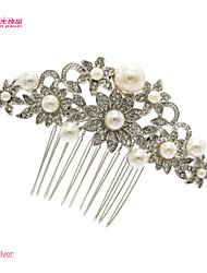 Neoglory Jewelry Sun Flower Clear Rhinstone and Imitation Pearl Hair Comb for Wedding/Bridal