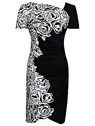 Women's Half Sleeve Slim Round Collar Bodycon Print Plus Size Dress
