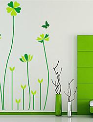 adesivos de parede decalques de parede, cinco folhas de sorte parede grama pvc adesivos