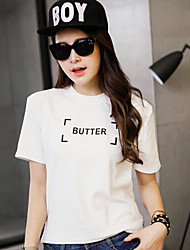 Women's Casual/Daily Simple Summer T-shirt,Print Crew Neck Short Sleeve White Cotton Medium