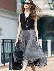 Элейн женская мода causual долго танк платье