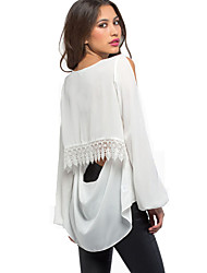 2015 Summer New Arrival Women Shirt  Off-shoulder Full Sleeve V Neck White Chiffon Hollow Out Backless Sexy Blouses