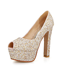 Women's Shoes Glitter Chunky Heel Peep Toe Pumps Dress More Colors Available